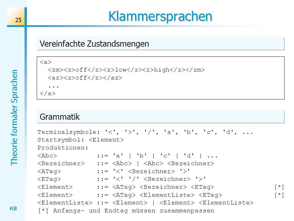 Klammersprachen Vereinfachte Zustandsmengen Grammatik