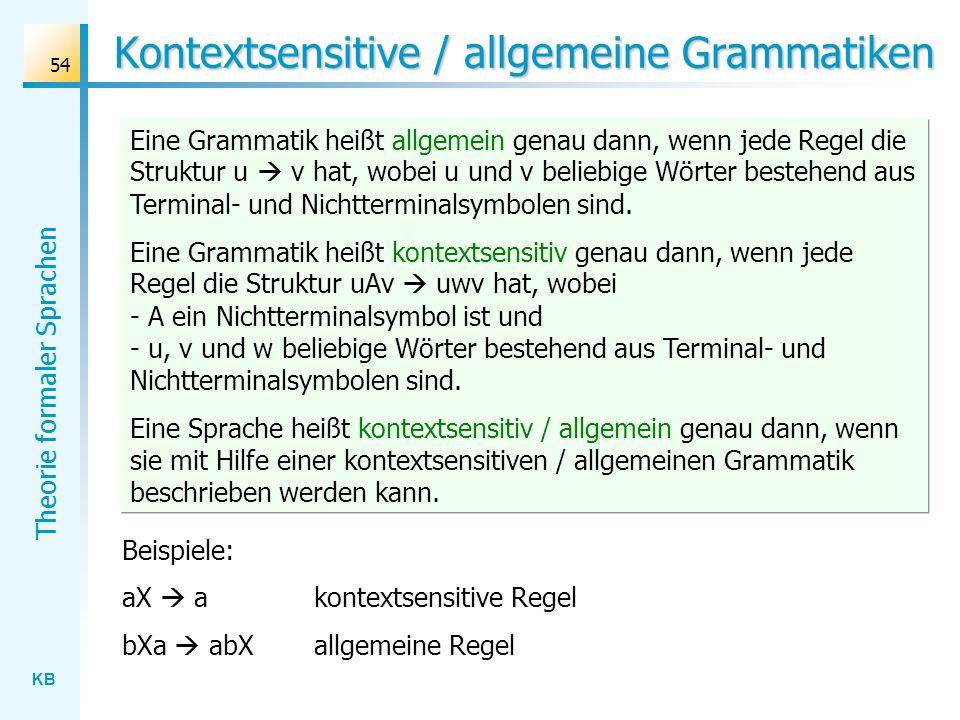 Kontextsensitive / allgemeine Grammatiken