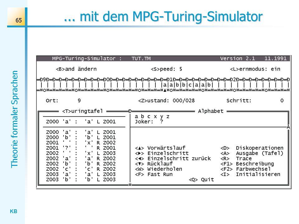... mit dem MPG-Turing-Simulator