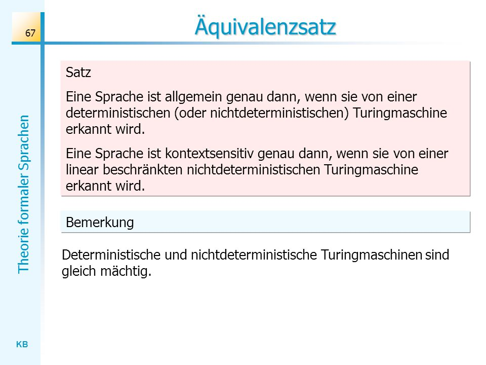 Äquivalenzsatz Satz.