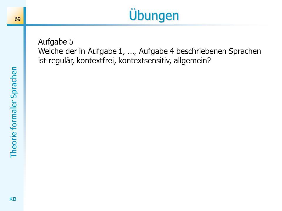 Übungen Aufgabe 5 Welche der in Aufgabe 1, ..., Aufgabe 4 beschriebenen Sprachen ist regulär, kontextfrei, kontextsensitiv, allgemein
