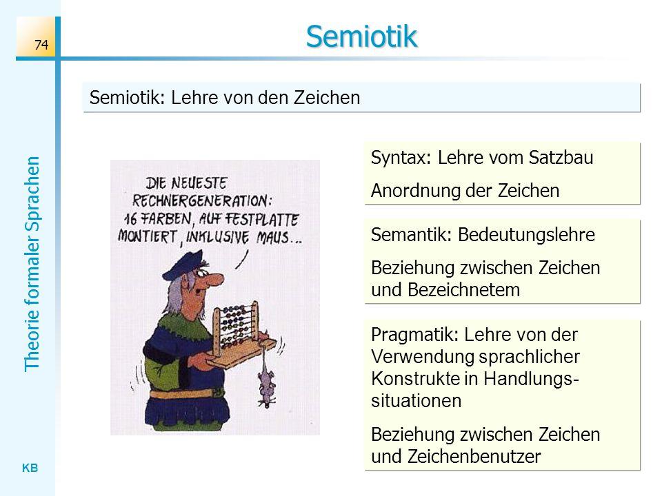 Semiotik Semiotik: Lehre von den Zeichen Syntax: Lehre vom Satzbau