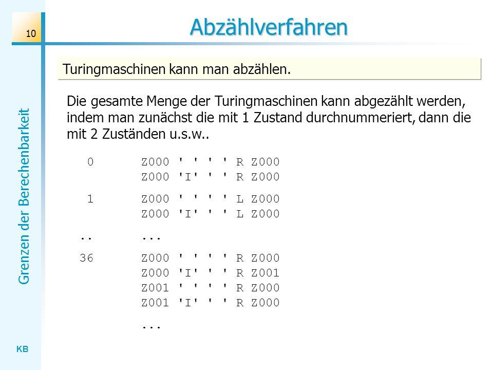 Abzählverfahren Turingmaschinen kann man abzählen.
