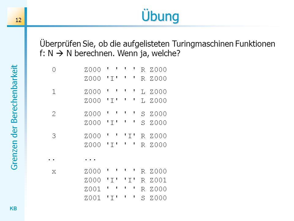 Übung Überprüfen Sie, ob die aufgelisteten Turingmaschinen Funktionen f: N  N berechnen. Wenn ja, welche