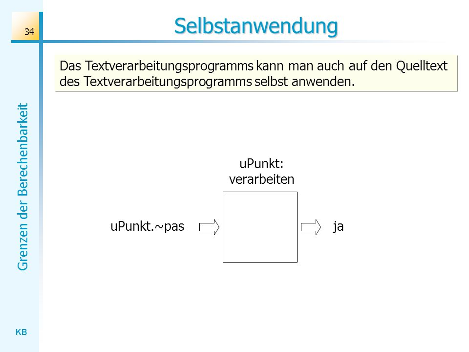 Selbstanwendung Das Textverarbeitungsprogramms kann man auch auf den Quelltext des Textverarbeitungsprogramms selbst anwenden.
