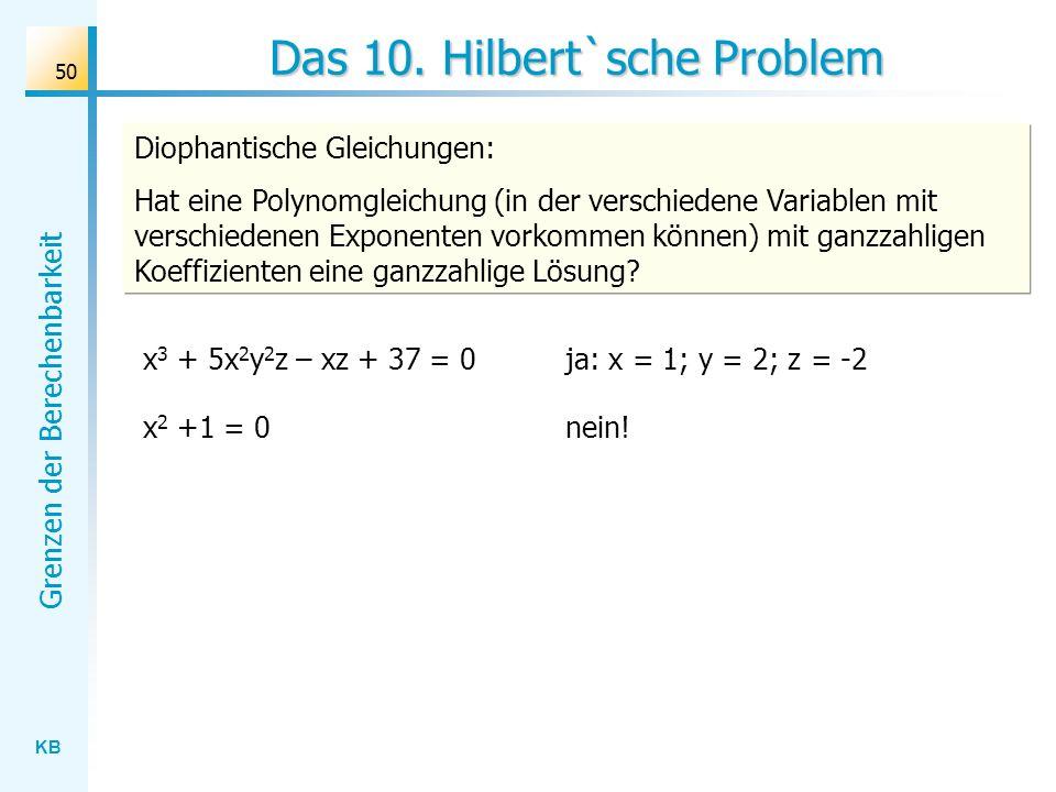 Das 10. Hilbert`sche Problem