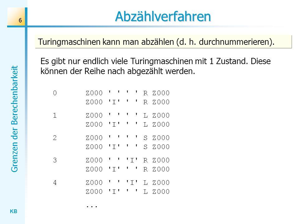 Abzählverfahren Turingmaschinen kann man abzählen (d. h. durchnummerieren).