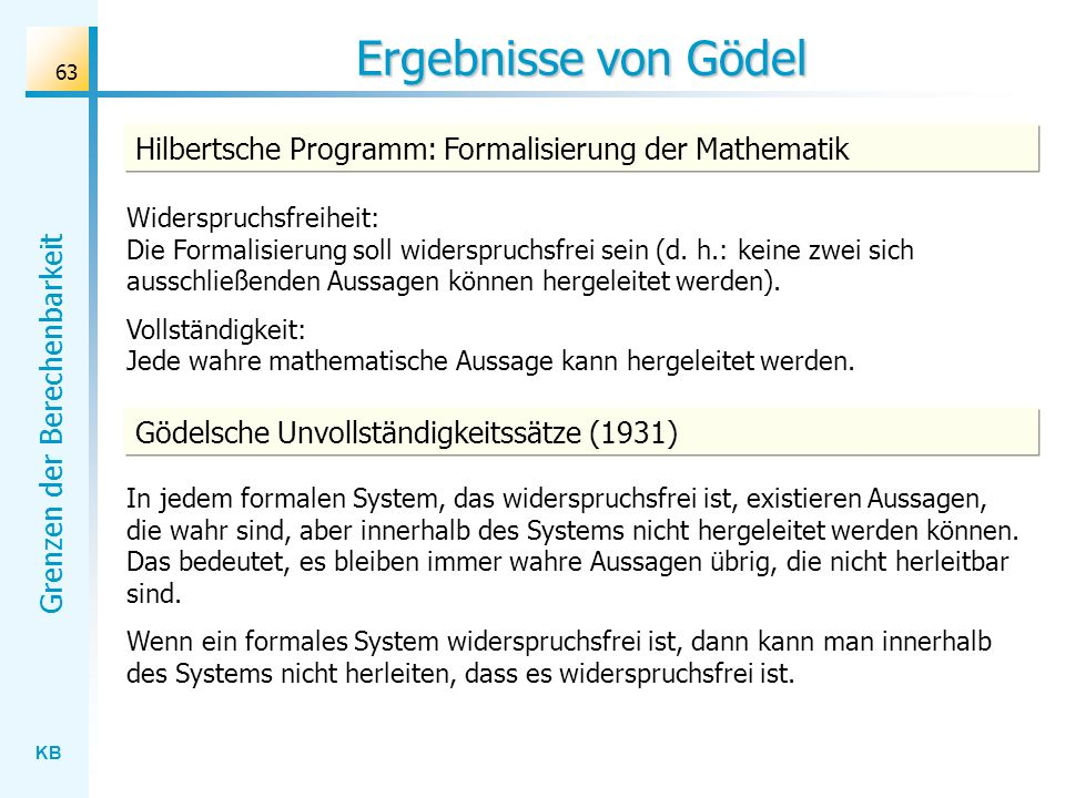 Ergebnisse von Gödel Hilbertsche Programm: Formalisierung der Mathematik.