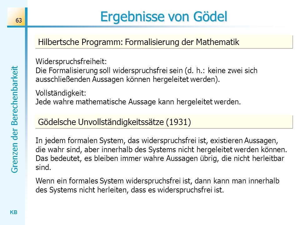 Ergebnisse von GödelHilbertsche Programm: Formalisierung der Mathematik.
