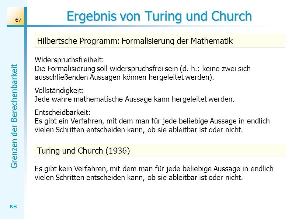 Ergebnis von Turing und Church