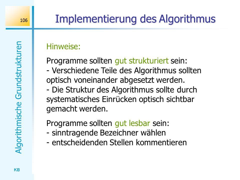 Implementierung des Algorithmus