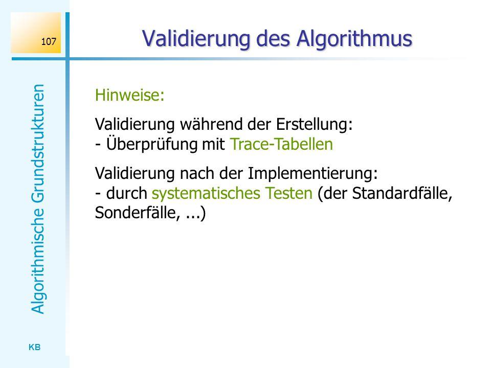 Validierung des Algorithmus