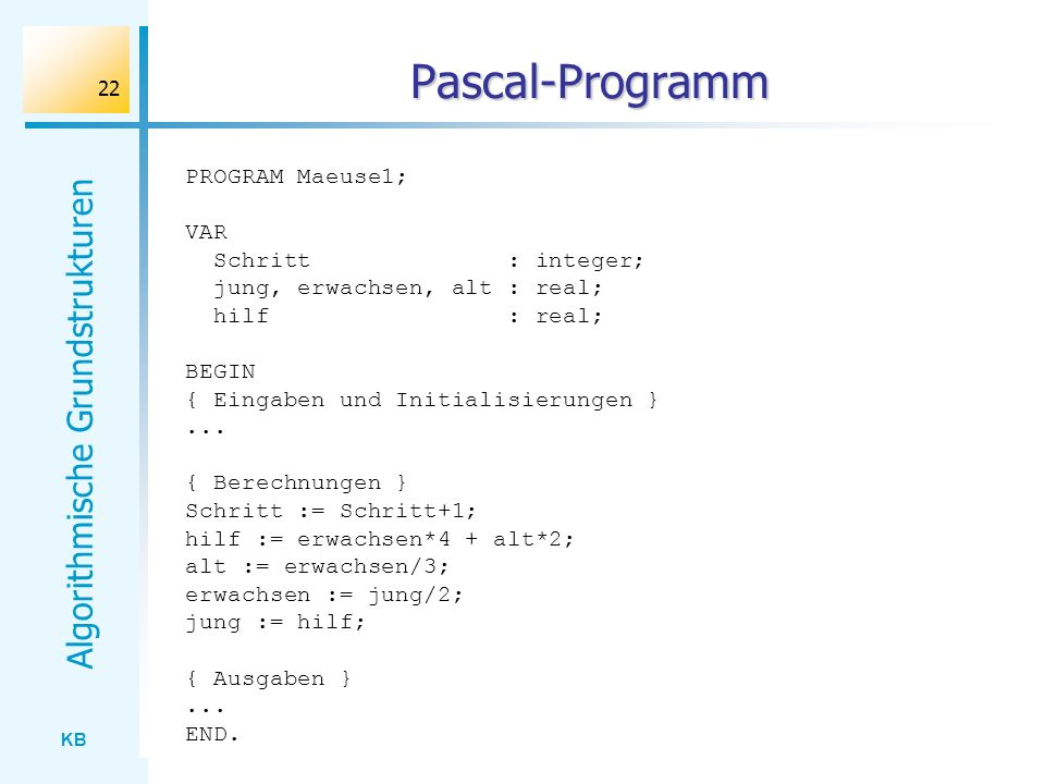 Pascal-Programm PROGRAM Maeuse1; VAR Schritt : integer;