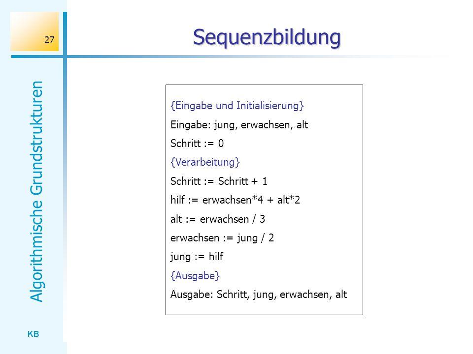 Sequenzbildung {Eingabe und Initialisierung}