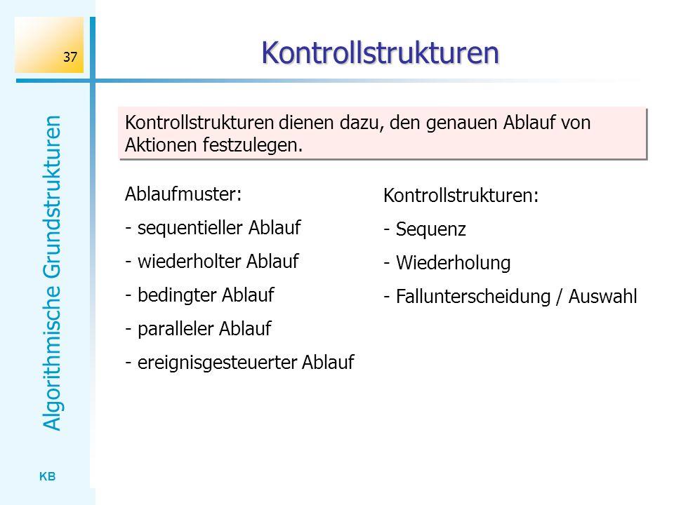 Kontrollstrukturen Kontrollstrukturen dienen dazu, den genauen Ablauf von Aktionen festzulegen. Ablaufmuster: