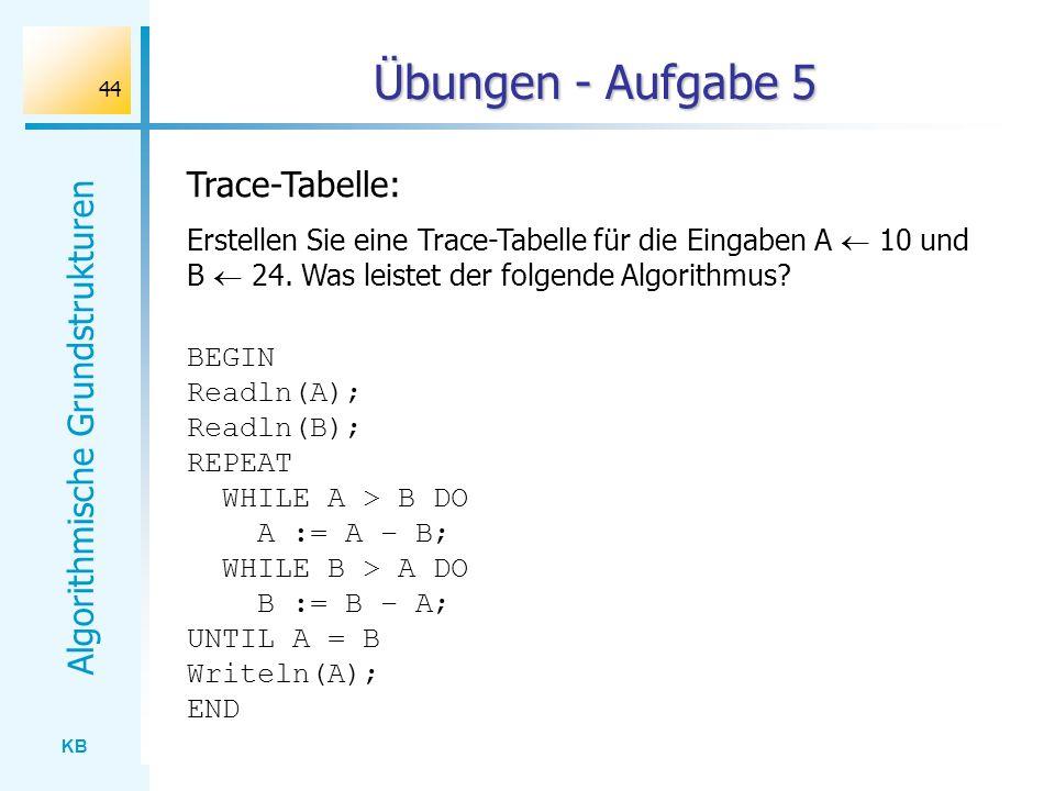 Übungen - Aufgabe 5 Trace-Tabelle: