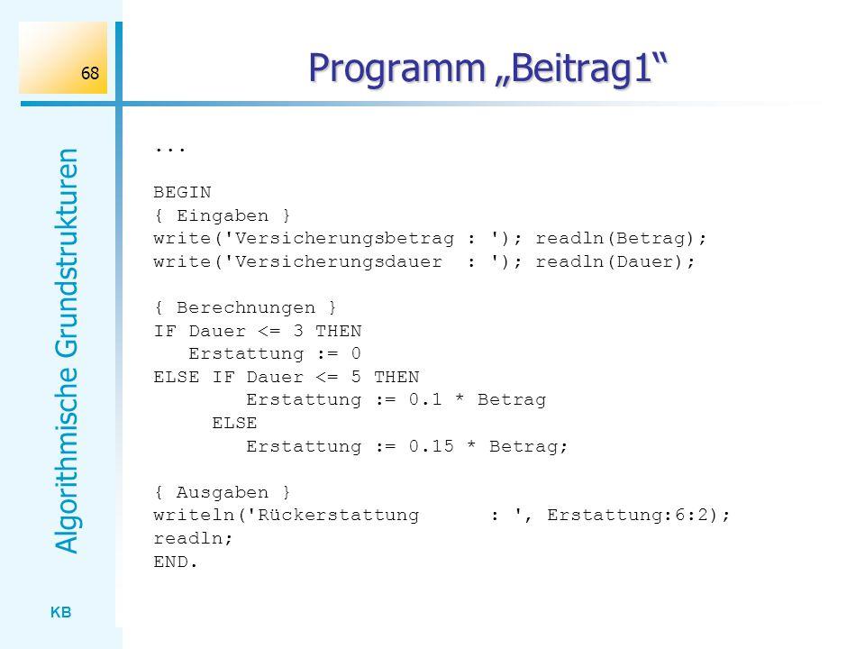 """Programm """"Beitrag1 ... BEGIN { Eingaben }"""