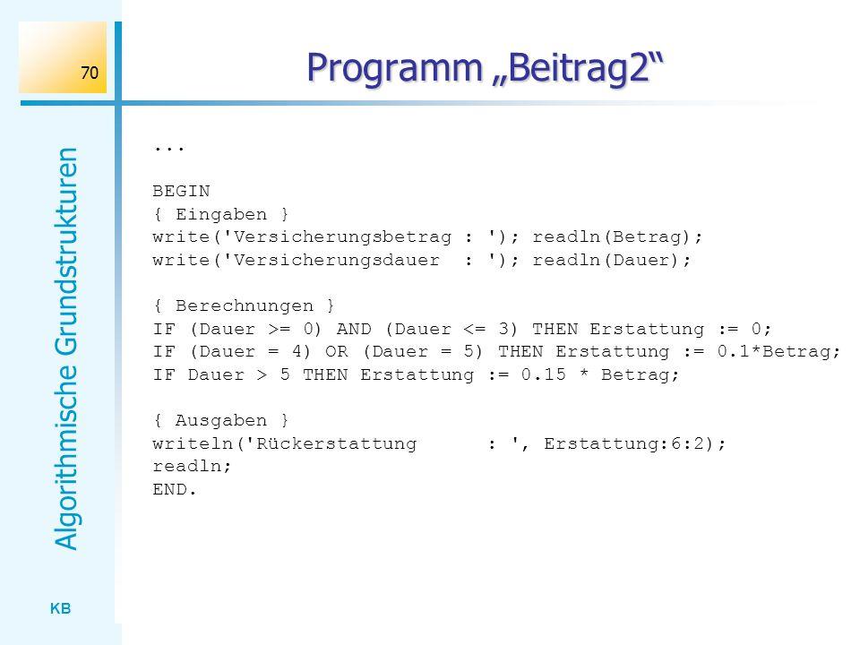 """Programm """"Beitrag2 ... BEGIN { Eingaben }"""
