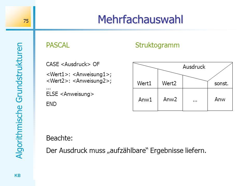 Mehrfachauswahl PASCAL Struktogramm Beachte: