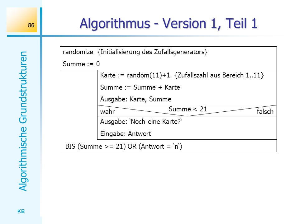 Algorithmus - Version 1, Teil 1