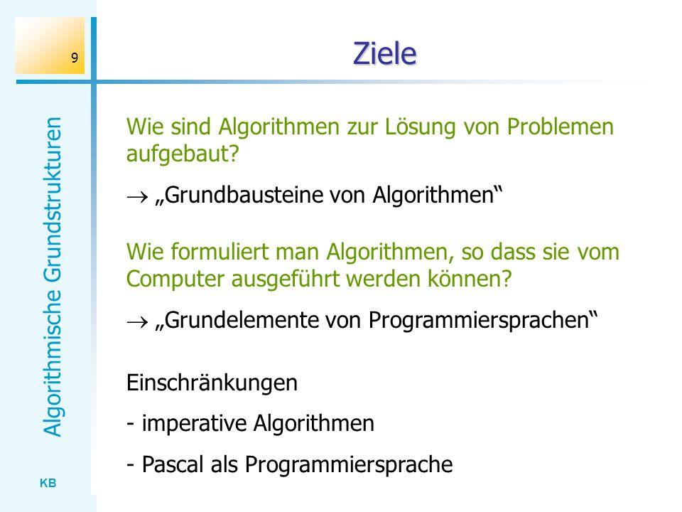 Ziele Wie sind Algorithmen zur Lösung von Problemen aufgebaut
