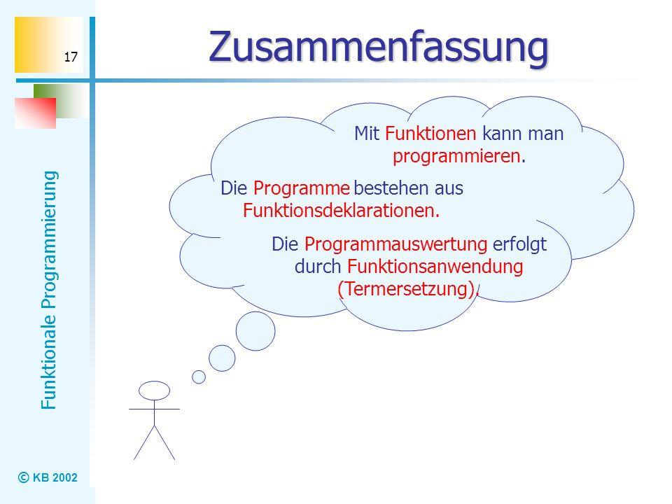Zusammenfassung Mit Funktionen kann man programmieren.