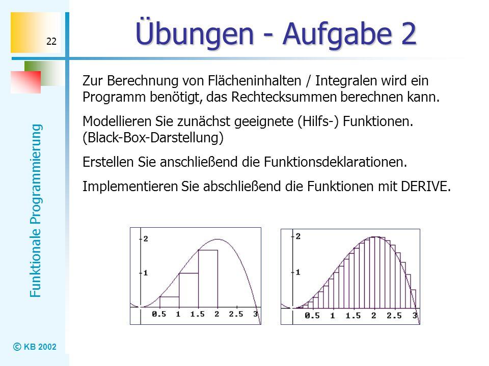 Übungen - Aufgabe 2 Zur Berechnung von Flächeninhalten / Integralen wird ein Programm benötigt, das Rechtecksummen berechnen kann.