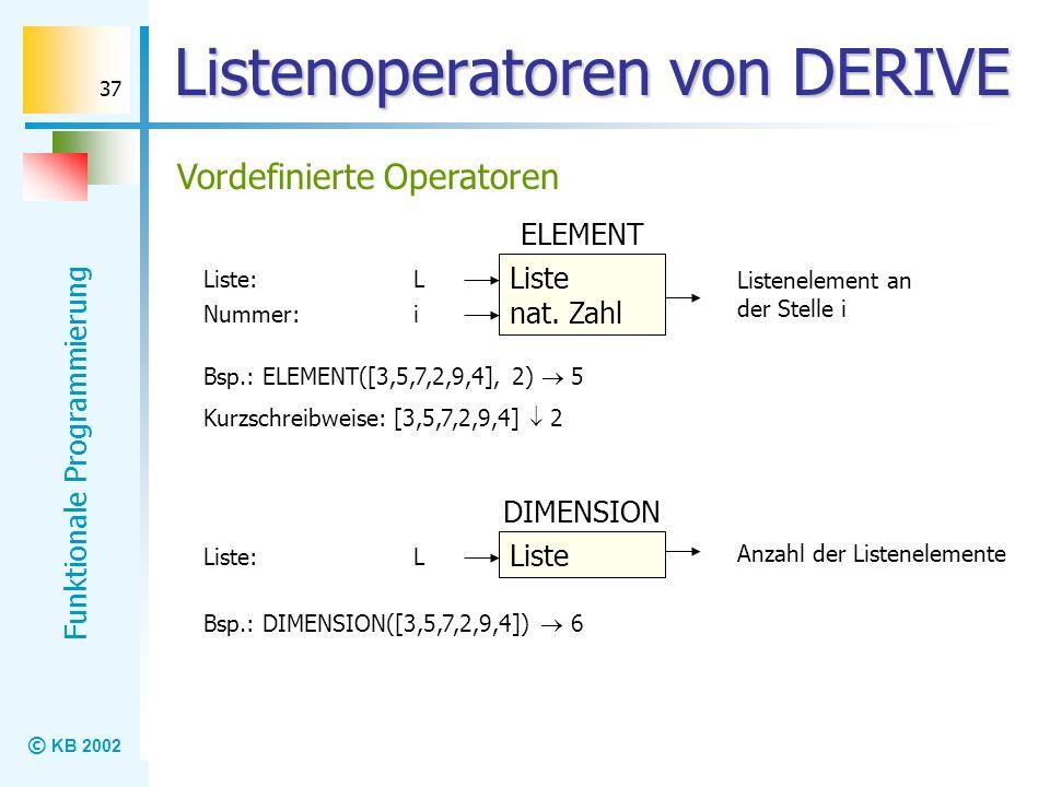 Listenoperatoren von DERIVE