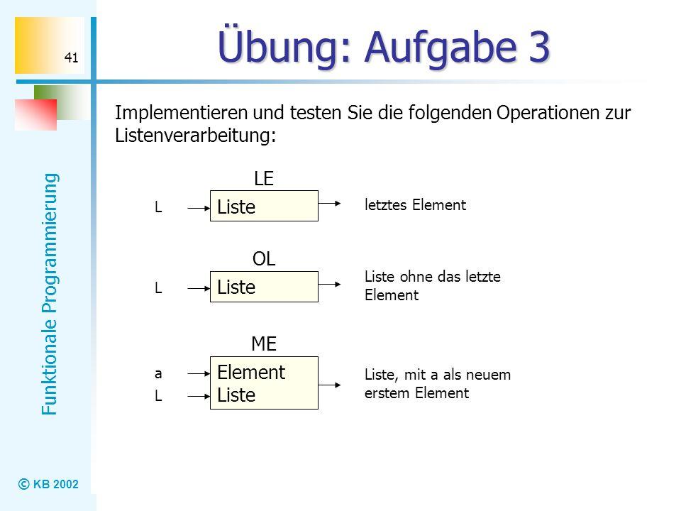Übung: Aufgabe 3 Implementieren und testen Sie die folgenden Operationen zur Listenverarbeitung: LE.