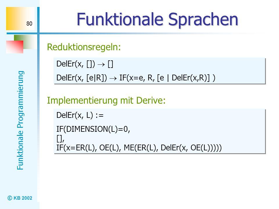 Funktionale Sprachen Reduktionsregeln: Implementierung mit Derive: