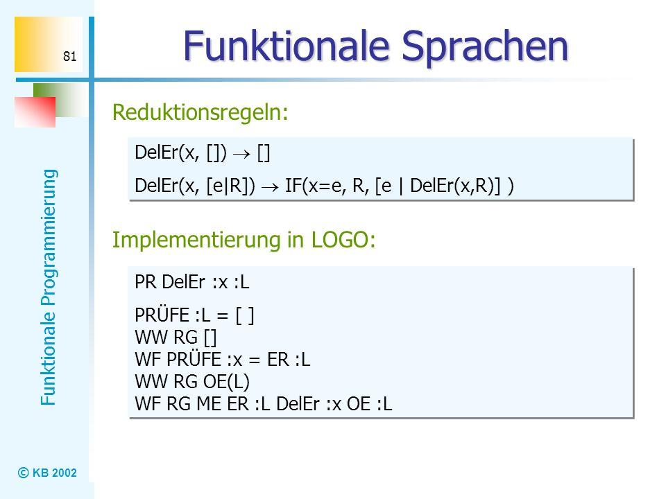 Funktionale Sprachen Reduktionsregeln: Implementierung in LOGO: