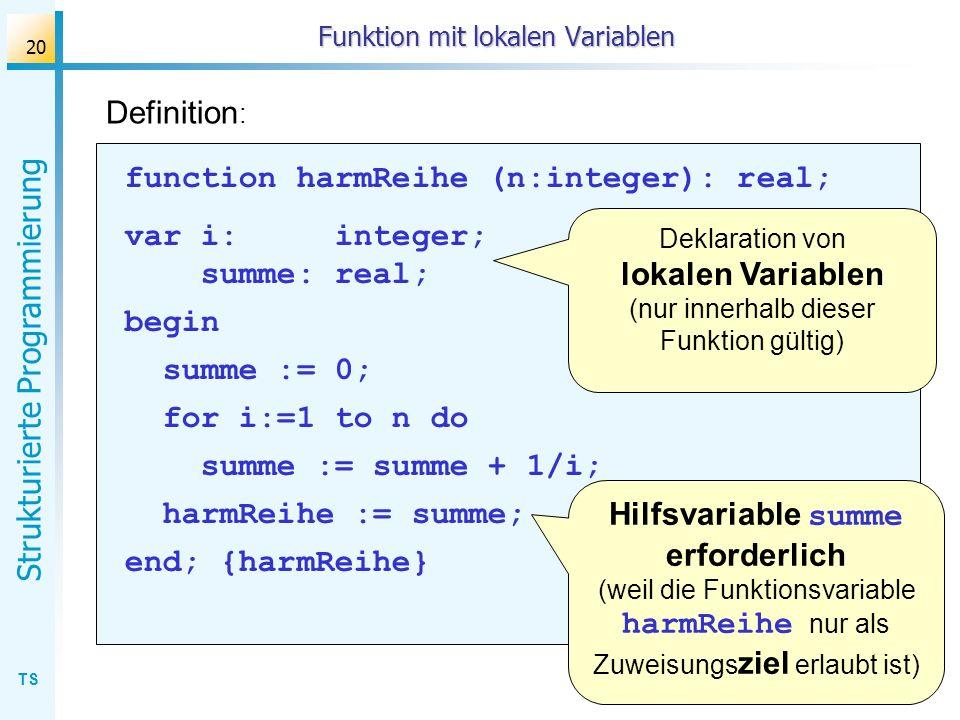 Funktion mit lokalen Variablen