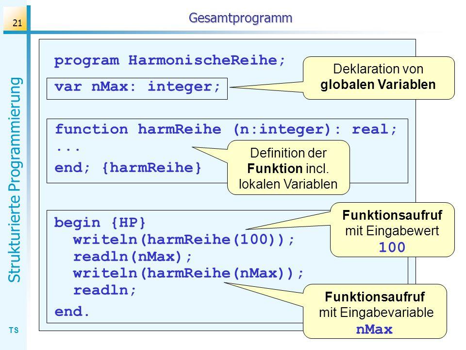 program HarmonischeReihe; var nMax: integer;