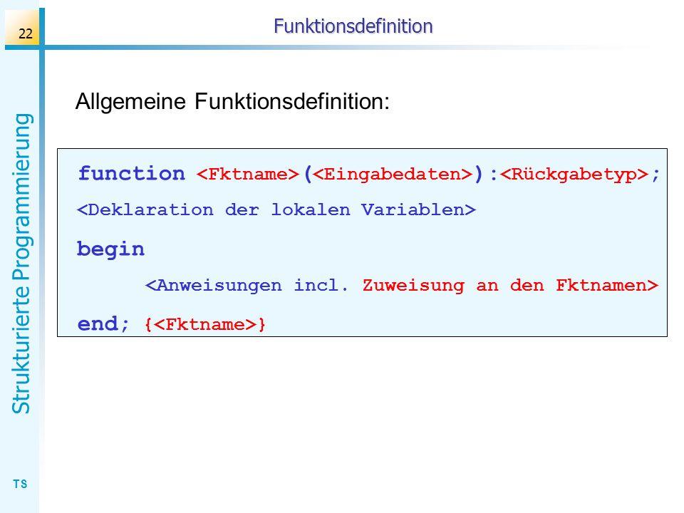 Allgemeine Funktionsdefinition: