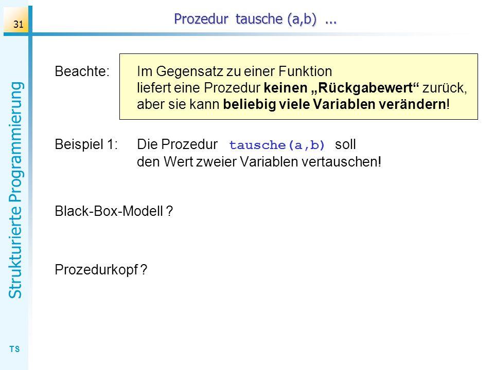 Prozedur tausche (a,b) ...
