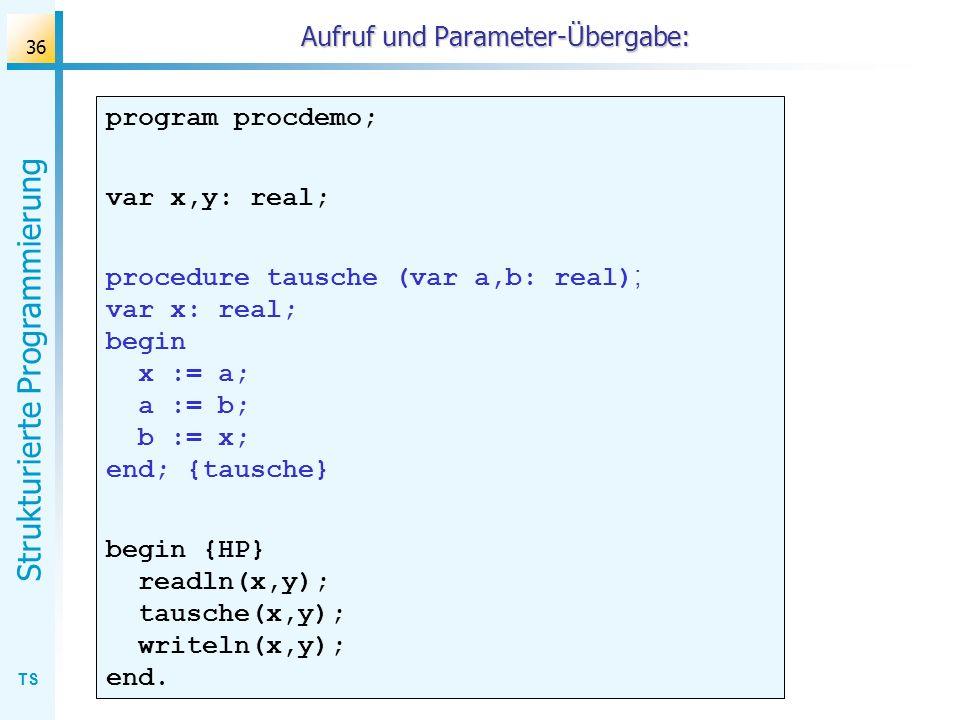 Aufruf und Parameter-Übergabe: