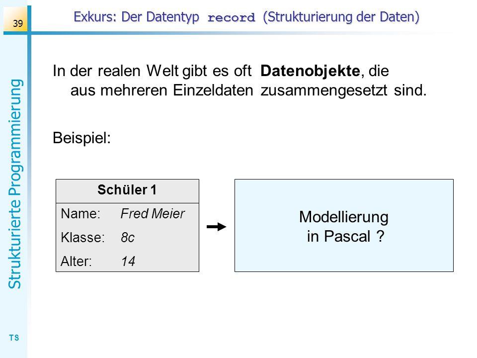 Exkurs: Der Datentyp record (Strukturierung der Daten)