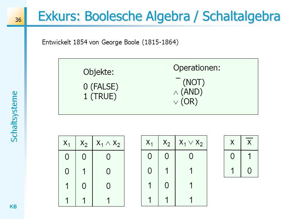 Exkurs: Boolesche Algebra / Schaltalgebra