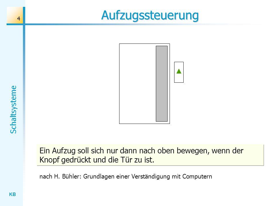 Aufzugssteuerung Ein Aufzug soll sich nur dann nach oben bewegen, wenn der Knopf gedrückt und die Tür zu ist.