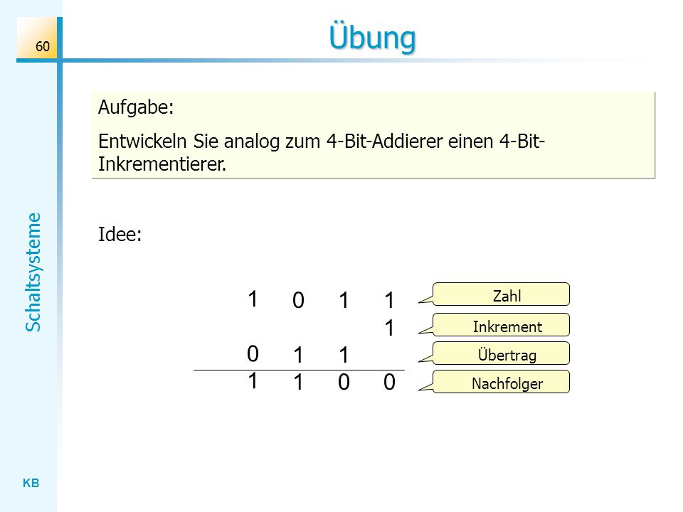 Übung Aufgabe: Entwickeln Sie analog zum 4-Bit-Addierer einen 4-Bit-Inkrementierer. Idee: 1 0 1.