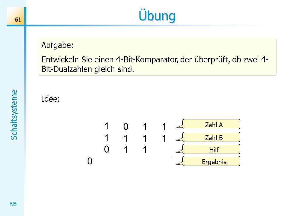 Übung Aufgabe: Entwickeln Sie einen 4-Bit-Komparator, der überprüft, ob zwei 4-Bit-Dualzahlen gleich sind.