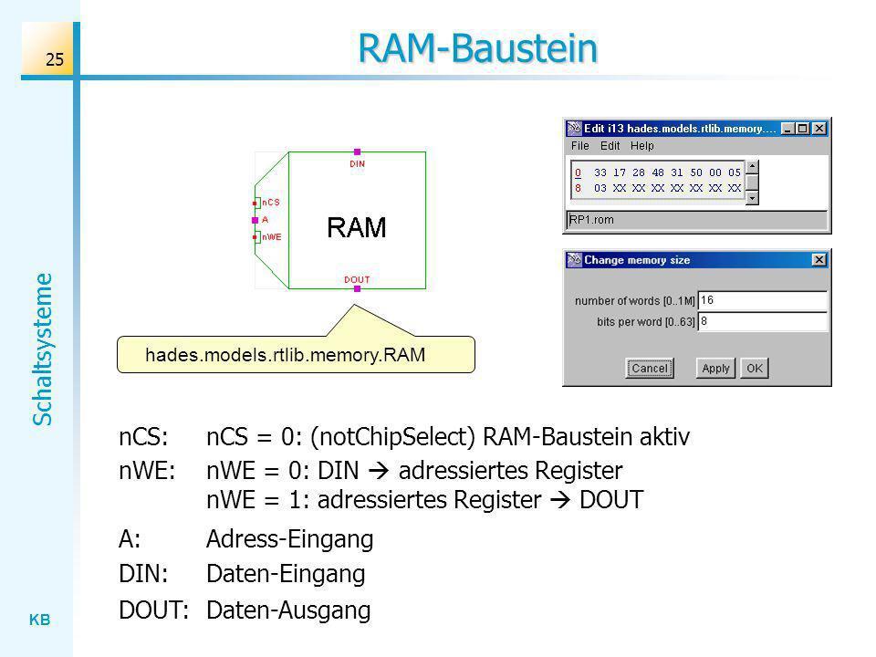 RAM-Baustein nCS: nCS = 0: (notChipSelect) RAM-Baustein aktiv