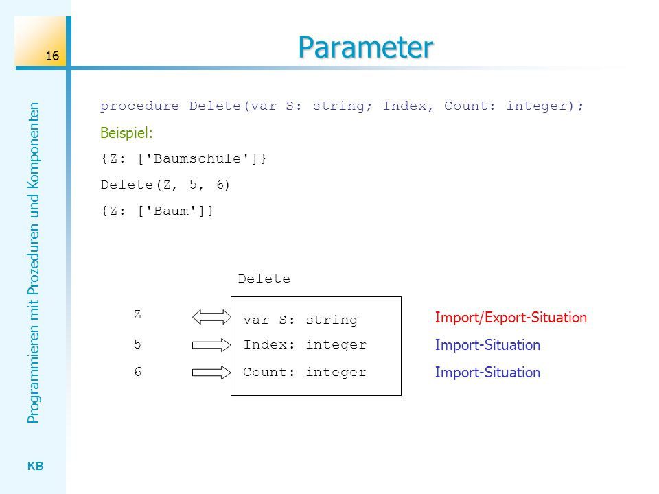 Parameter procedure Delete(var S: string; Index, Count: integer);