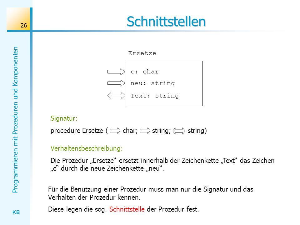 Schnittstellen Ersetze c: char neu: string Text: string Signatur:
