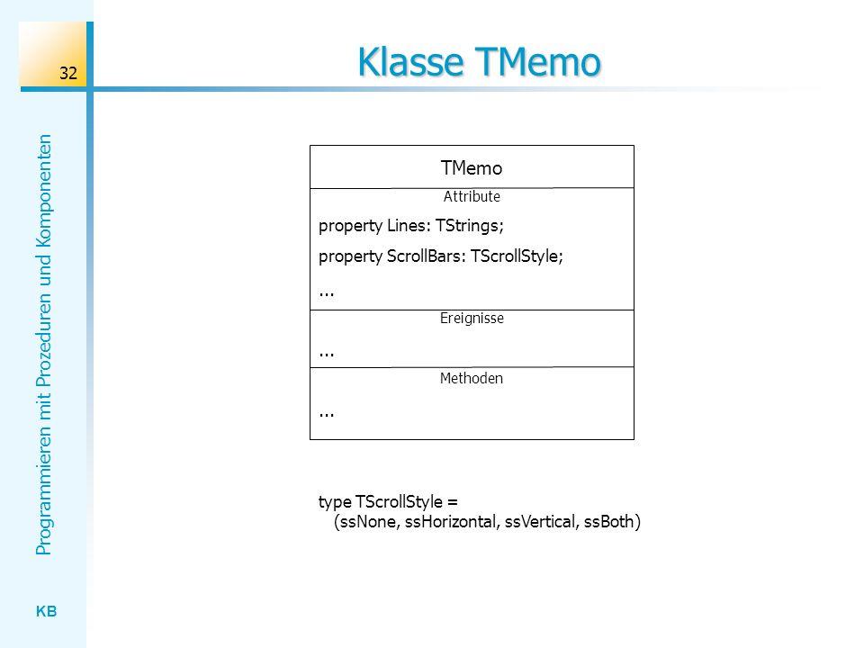 Klasse TMemo TMemo ... property Lines: TStrings;