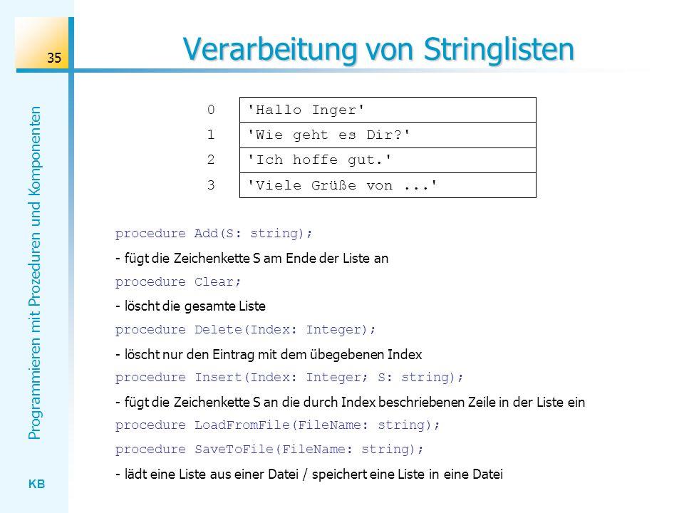 Verarbeitung von Stringlisten
