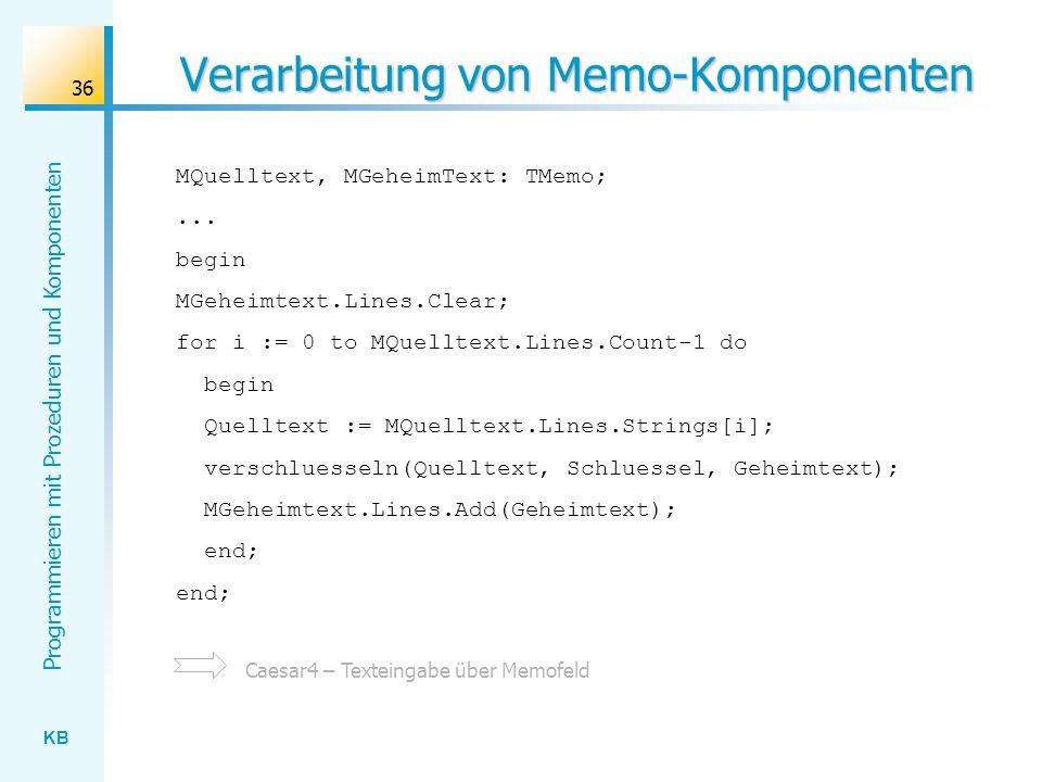 Verarbeitung von Memo-Komponenten