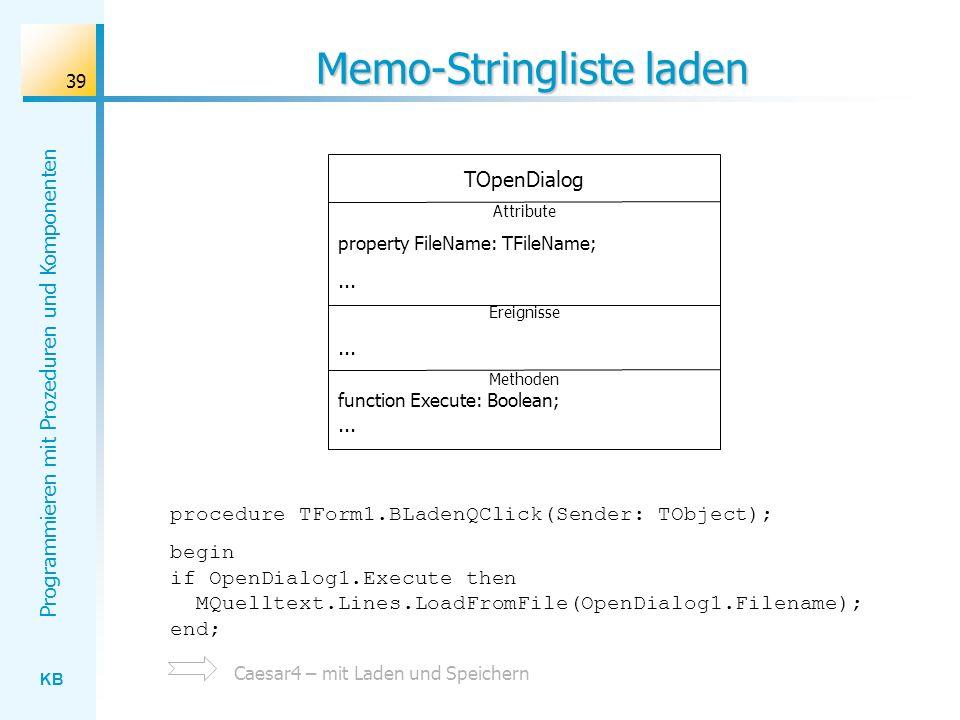 Memo-Stringliste laden