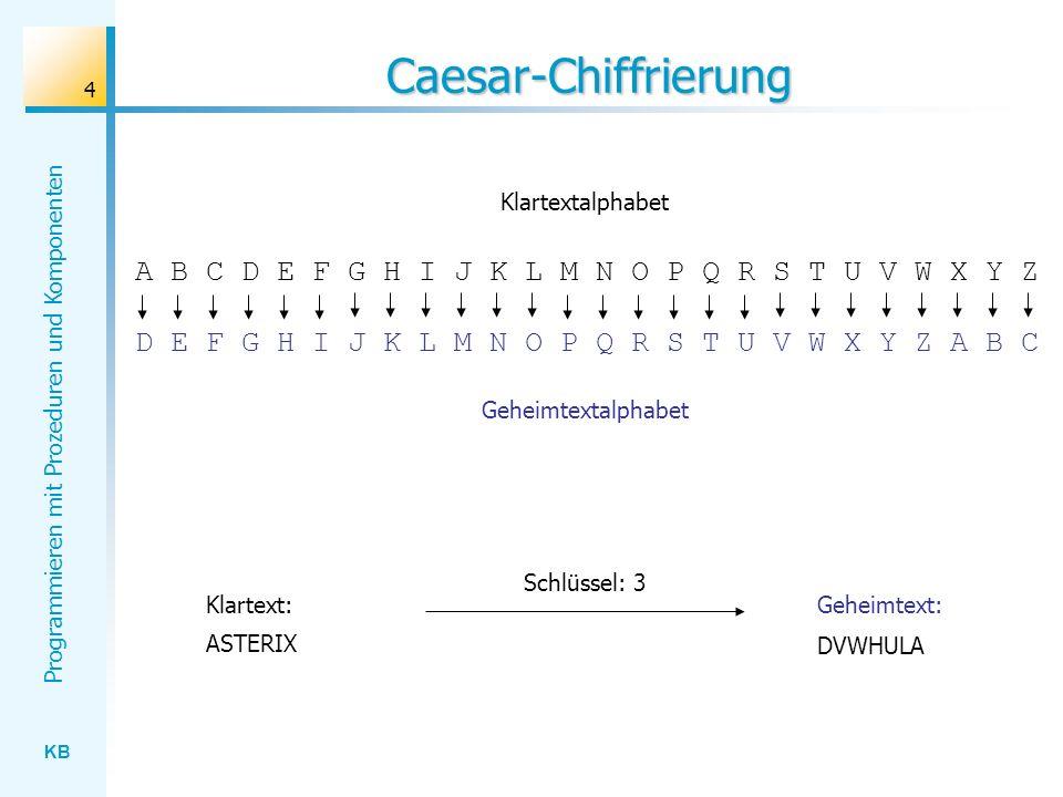 Caesar-Chiffrierung Klartextalphabet. A B C D E F G H I J K L M N O P Q R S T U V W X Y Z. D E F G H I J K L M N O P Q R S T U V W X Y Z A B C.