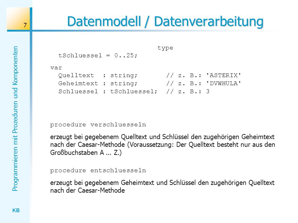 Datenmodell / Datenverarbeitung